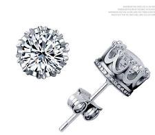 Women Men Gorgeous Round Crown Sterling Silver Cubic Zirconia Stud Earrings P8