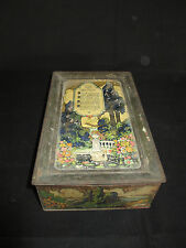 Vintage Chocolate Tin w/Sewing Supplies, Wooden Spools