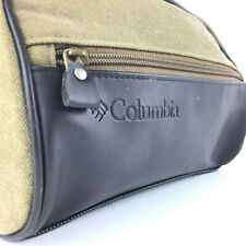 000064db380a Columbia Mens Sage Green 100% Cotton Canvas Brown Travel Shave Kit Toiletry  Bag