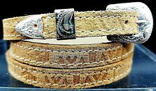 Tan HATBAND Southwest PRINT LEATHER with Silver Buckle Western Cowboy Hat Band