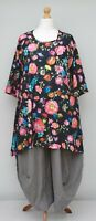 "PLUS SIZE STUNNING FLORAL A-LINE TUNIC*BLACK*BY AKH GERMANY BUST UP TO 52""XL-XXL"