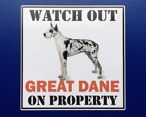 WATCH OUT GREAT DANE ON PROPERTY DOOR WINDOW STICKER DECAL HOUSE GATE DOG LAND