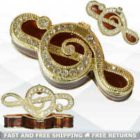 Musical Note Miniature Pill Trinket Box with Hinged Lid Enamel Bejeweled Crystal
