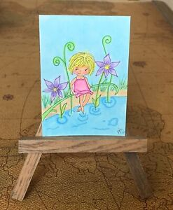 """ACEO ORIGINAL Miniature Art By PJR A Day At The Pond!"""". Happy Cute Child"""