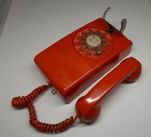 Vintage ITT rotary dial wall telephone ORANGE 1970s movie prop design groovy