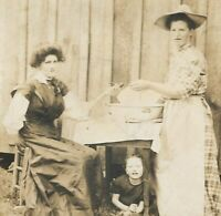 Antique Photo RPPC Two Women and a Wash Basin Washing a Smoking Pipe 1904-1918