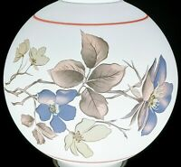 "Vintage Lamp Shade GWTW Floral Bouquet Round Ball Globe Hurricane Oil Glass 10"""