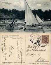 Quercianella, Livorno, Bagni Paolieri,animata con barche, ottime cond. 1927