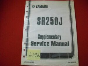 SEALED FACTORY ISSUED 1981-82 YAMAHA M/C SR250J SUPPLEMENTARY SERVICE MANUAL