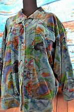 Escada Women's Jacket Snap Button Art Coat Colorful Size 34 US Medium Cotton