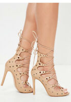 missguided camel tan gold eyelet gladiator lace up wrap sandals heels sz 9