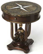 Ornate Stone Top Accent Table with Elizabethan Turned Cup Pedestal & Pineapple