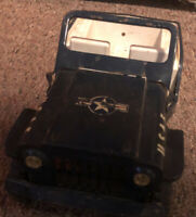 Tonka USAF Jeep - Vintage Pressed Steel Blue with Whitewall Tires
