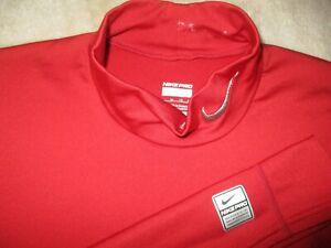 Mens - NIKE PRO - Base Layer Compression Mock Neck T Shirt Red XL