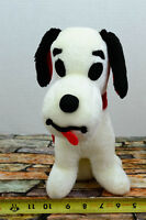"""White Beagle Dog plush Black Eyes and Ears red Scarf DGE Corp 1998 11"""""""