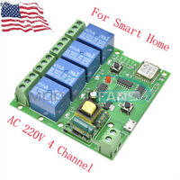AC 220V 4 Channel WiFi Wireless Relay Delay Switch 4-way Control Module Board