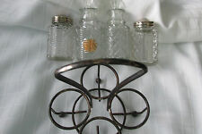 CADDY FOR VINEGAR & OIL, SALT & PEPPER/POSSIBLY SILVER PLATED, / SILVER/ENGL;AND