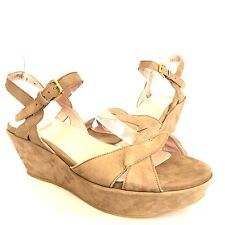 Stuart Weitzman Lockness Taupe Suede Ankle Strap Wedge Sandals Women's Size 9 W*