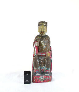 Chinese Qing Dynasty Temple Guardian Painted Wood Figure