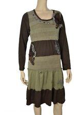 Pretty Angel Coffee Brown  tunic top victorian style rinestones artsy knit