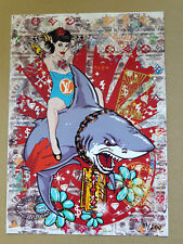 Ink Funny and tattooed Girl on Shark DIN A4 Poster – LIMITED EDITION