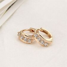 Women Lady Girls Charm 18K Gold Filled Crystal Hoop Earrings Ear Clips FE