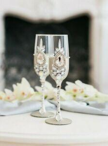 Wedding champagne flutes Bride & Groom Mr Mrs Champagne Glasses pair 2 pcs