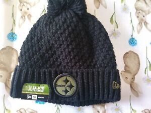 NWT NEW ERA PITTSBURGH STEELERS SALUTE TO SERVICE BLACK WINTER KNIT HAT WOMEN'S