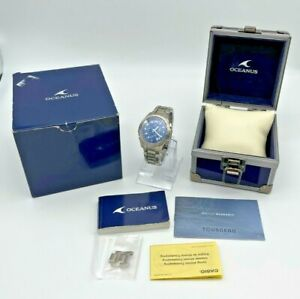 Men's CASIO Oceanus Wave Ceptor Titanium Blue Dial Chronograph Watch, OCW-600