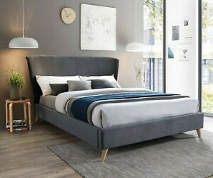 New Modern Winged Grey Velvet Fabric Double Bed Bedstead *Furniture Store*