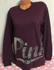 NWT Victoria's Secret PINK Long Sleeve Pocket Sequin Campus Tee Shirt Small V95