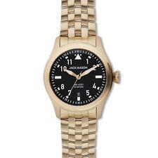 JACK MASON Men's 42mm Black Aviator Gold Stainless Steel Watch JM-A101-308 New!