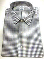 Brooks Brothers Regent Mens Blue Plaid Check 100% Supima 17-35 Point Collar $92