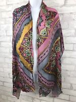 Cynthia Rowley Pink and Gold Burnt Silk Velvet Paisley Floral Scarf 73x20""