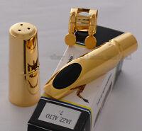 TOP QUALTIY Gold Plated Jazz Alto Saxophone Metal Mouthpiece For Eb Sax Size 7