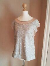 Warehouse Women's Light Grey Sequin Blouse Top Size 12