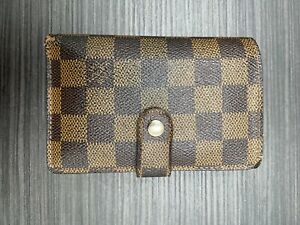 LOUIS VUITTON French Kiss  Damier Ebene Wallet Brown Coated Canvas