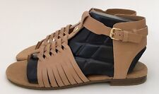 Marc Fisher LEA Light Natural Leather Beige Gladiator Sandals Shoes Size 9M NEW