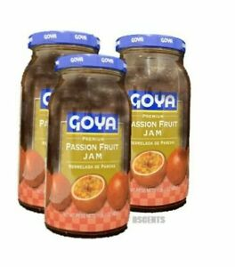 3 Pack Goya Premium Passion Fruit Jam Mermelada De Parcha 1 LB Each Bottle