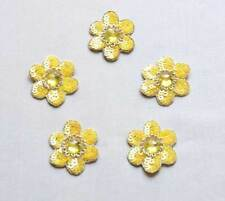 5 Hand-Beaded Appliques. Yellow Flowers. Sequins