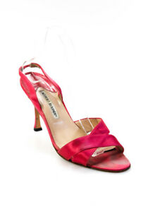 Manolo Blahnik Womens Satin Slingback Stiletto Pumps Pink Size 40 10