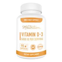 Vitamin D3 125mcg (5000 IU) Supplement for Adults (90 Capsules)