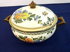 ASTA ENAMEL COOKWARE FLORAL LARGE 4 QT DUTCH OVEN CASSEROLE PAN WITH LID