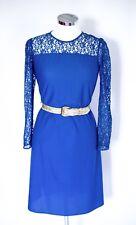 Vintage royal blue lace dress UK 12