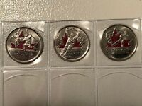 2009 2010 Canada Vancouver Olympic Moments 3 colored Quarters 25 cent Coins Set