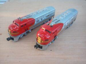 Lionel 2343 Santa Fe F3 Diesels portholes with lenses, front grab rails, great!!
