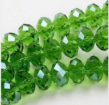 598pcs green Faceted Crystal Loose Beads 3x4mm