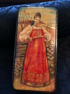 Large Vintage Russian Fedosinko Hand Painted Signed Laquer Box