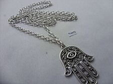 "A Lucky Evil Eye, Hamsa Hand Tibetan Silver Charm, Long ( 30"" ) Chain Necklace"