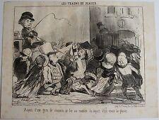 DAUMIER LITHOGRAPHIE ORIGINALE TIRAGE SUR BLANC, LES TRAINS DE PLAISIR N°1, 1852